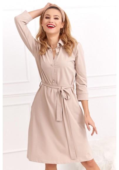 Bavlnené šaty s dĺžkou nad kolená a dlhým rukávom, béžové