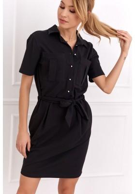 Bavlnené šaty košeľového prevedenia s krátkym rukávom, čierne