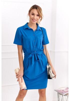 Bavlnené šaty košeľového prevedenia s krátkym rukávom, modré
