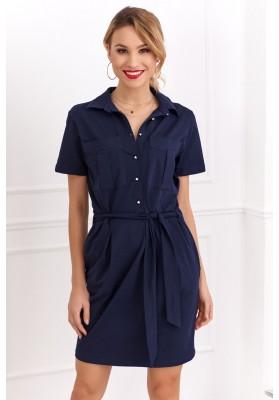 Bavlnené šaty košeľového prevedenia s krátkym rukávom, navy- modré