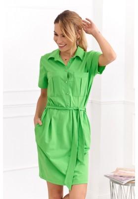 Bavlnené šaty košeľového prevedenia s krátkym rukávom, zelené