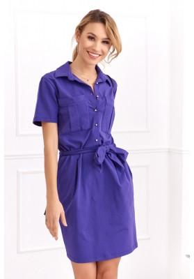Bavlnené šaty košeľového prevedenia s krátkym rukávom, fialové