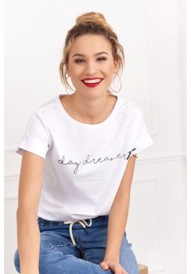 Moderný a zároveň jednoduchý top z bavlny s nápisom, biely