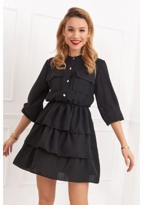 Krásne šaty s dlhými rukávmi, čierne