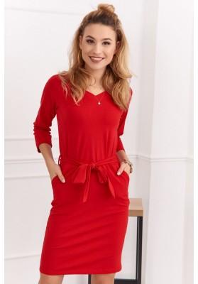 Bavlnené, puzdrové šaty s výstrihom do V a 3/4 rukávmi, červené