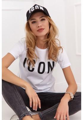 Jednoduché bavlnené tričko s nápisom na prednej strane, biele
