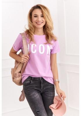 Jednoduché bavlnené tričko s nápisom na prednej strane, fialové