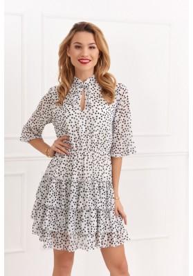 Vzdušné, krémové, nádherné šaty s bodkami