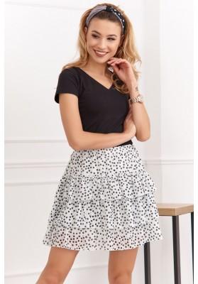Ľahká mini sukňa s bodkami a s elastickým pásom, biela