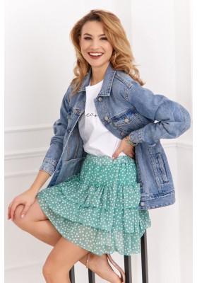 Ľahká mini sukňa s bodkami a s elastickým pásom, zelená
