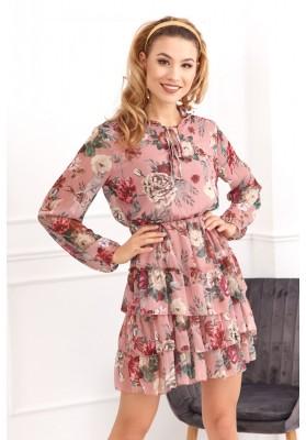 Jemné šaty s kvetinovými motívmi, ružové