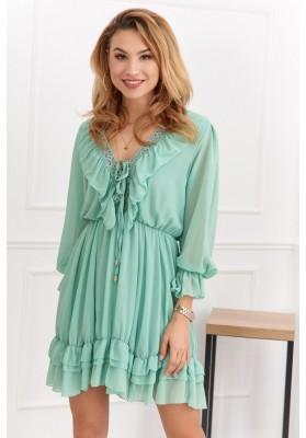 Jemné moderné šaty s výstrihom a jemnými volánmi, zelené
