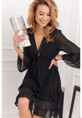 Elegantné krátke volánové šaty s ¾ rukávom, čierne