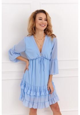 Elegantné krátke volánové šaty s ¾ rukávom, modré