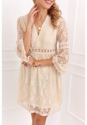 Elegantné čipkované šaty s ¾ rukávom, béžové