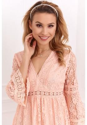 Elegantné čipkované šaty s ¾ rukávom, lososové