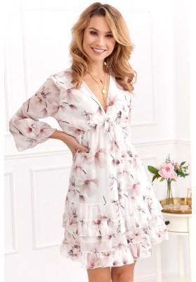 Elegantné krátke volánové šaty s ¾ rukávom, krémovo-béžové