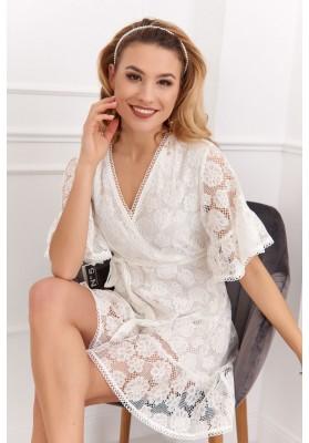 Elegantné, biele, čipkové šaty s ¾ volánovým rukávom