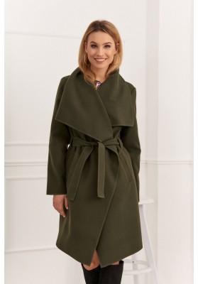 Štýlový kabát s veľkolepým širokým golierom, khaki