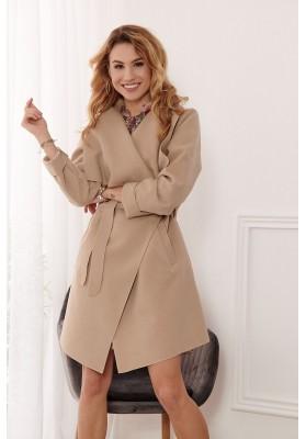 Štýlový kabát s veľkolepým širokým golierom, béžový