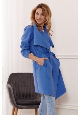 Štýlový kabát s veľkolepým širokým golierom, indigovomodrý