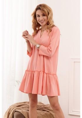 Bavlnené oversize šaty s dlhým rukávom a volánovou sukňou