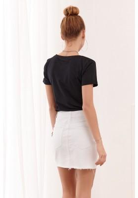 Biela rifľová sukňa s asymetrickým strihom