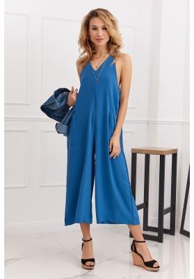 Letný overal so širokými 3/4 nohavicami v modernej farbe, modrý