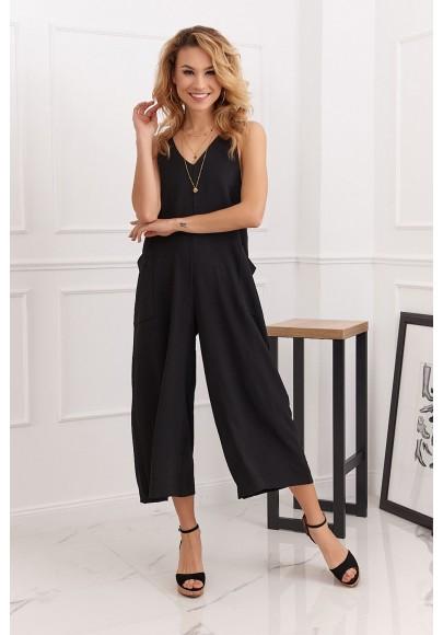Letný overal so širokými 3/4 nohavicami v modernej farbe, čierny