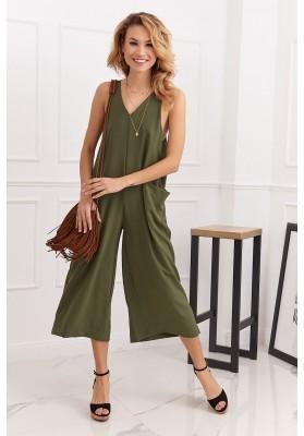 Letný overal so širokými 3/4 nohavicami v modernej farbe, khaki