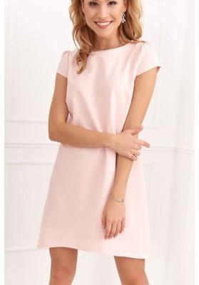Elegantné, moderné šaty s polkruhovým výstrihom, ružové