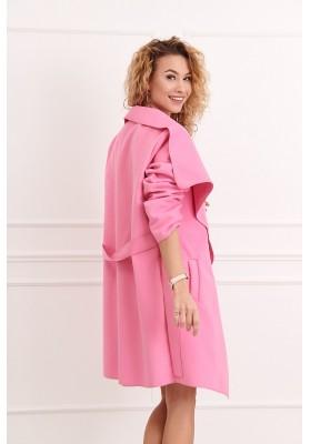 Štýlový kabát s veľkolepým širokým golierom, ružový
