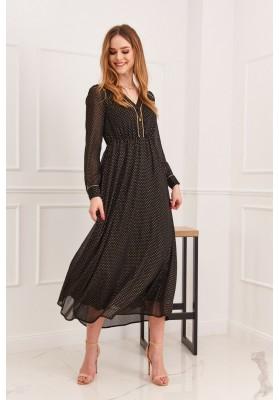 Elegantné midi šaty so so zapínaním pomocou gombíkov, čierne