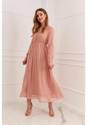 Elegantné midi šaty so so zapínaním pomocou gombíkov, ružové