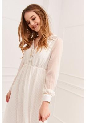 Elegantné midi šaty so so zapínaním pomocou gombíkov, krémové
