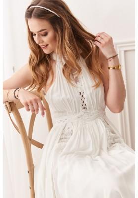 Vzdušné bavlnené šaty v štýle boho so zapínaním okolo krku