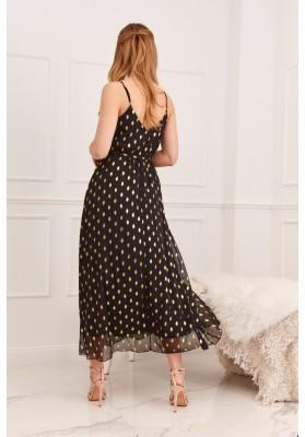 Elegantné, dlhé dámske šaty s V výstrihom na ramienka, čierne