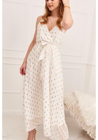 Elegantné, dlhé dámske šaty s V výstrihom na ramienka, biele