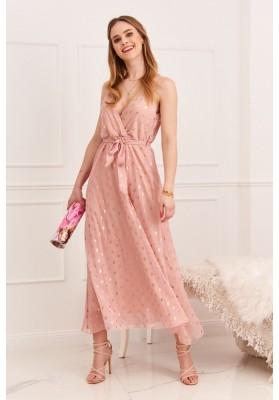 Elegantné, dlhé dámske šaty s V výstrihom na ramienka, ružová
