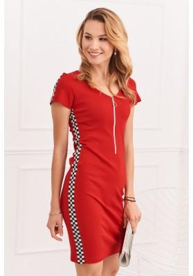 Športové šaty s ozdobnými pruhmi na bokoch, červená
