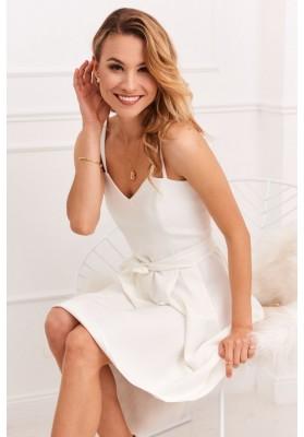 Nádherné dámske šaty s tenkými dvojitými remienkami, biele