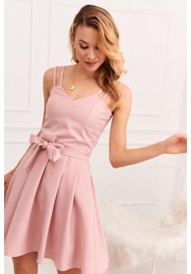 Nádherné dámske šaty s tenkými dvojitými remienkami, slaboružové