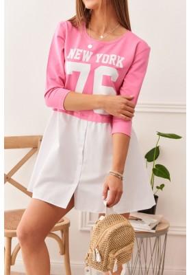 Módna nápaditá tunika so vsadenou košeľou, ružová