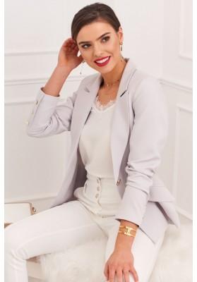Elegantné dámske sako s klasickým golierom a dlhými rukávmi, sivé