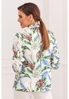 Elegantné dámske sako s klasickým golierom a dlhými rukávmi, zelené/modré