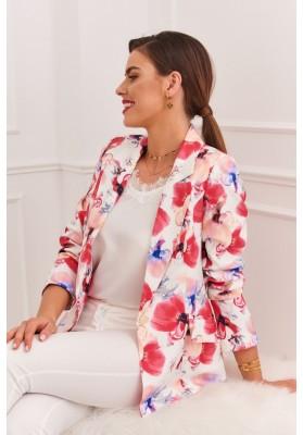 Elegantné dámske sako s klasickým golierom a dlhými rukávmi, krémové/ružové