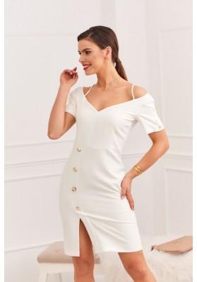Elegantné šaty s nápaditým výstrihom na tenkých ramienkach, krémové