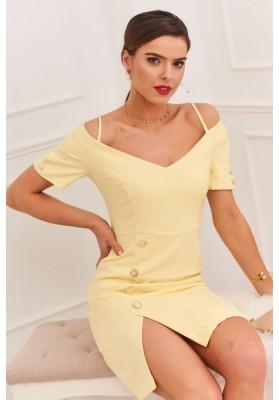 Elegantné šaty s nápaditým výstrihom na tenkých ramienkach, žlté