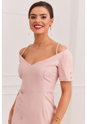 Elegantné šaty s nápaditým výstrihom na tenkých ramienkach, ružové