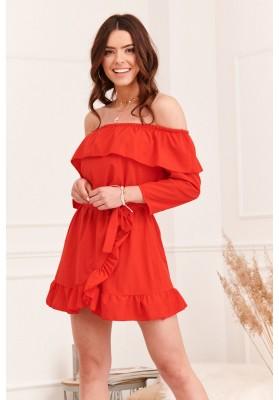 Vzdušné španielske šaty s voľnými, ¾ dlhými rukávmi, červené
